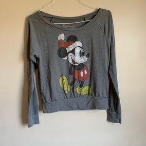 Christmas Mickey Long sleeve gray top women medium